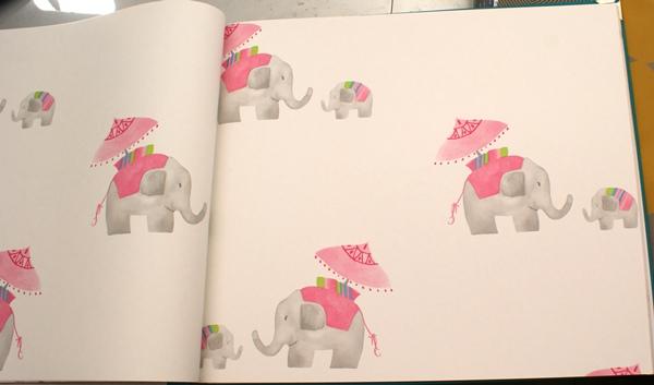 Papel Pintado Infantil Elefantitos