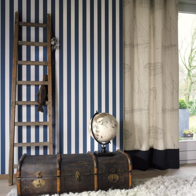 Papel Pintado Rayas Azul Marino