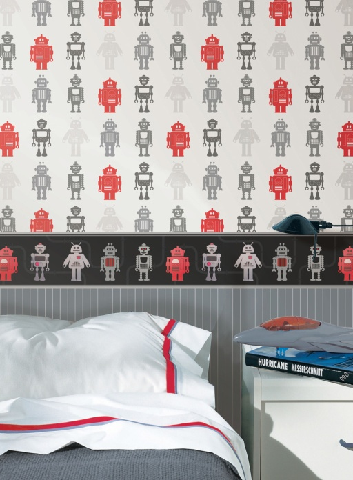 Habitación decorada con papel pintado infantil