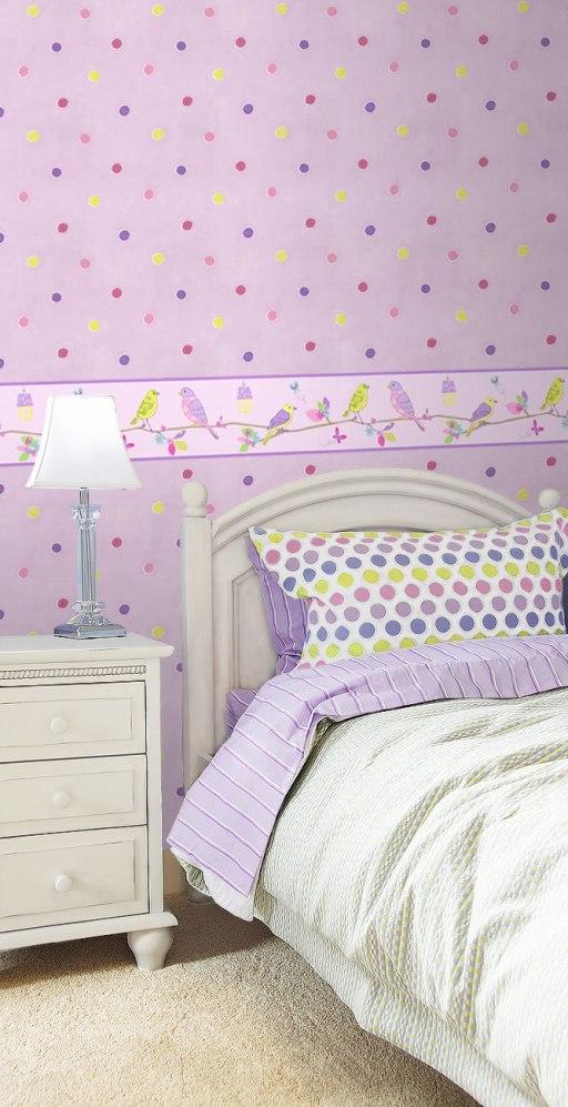 Papel Pintado Topos en color violeta