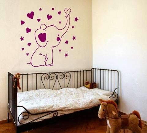 Vinilo Para Bebes Elefante Corazones IN098