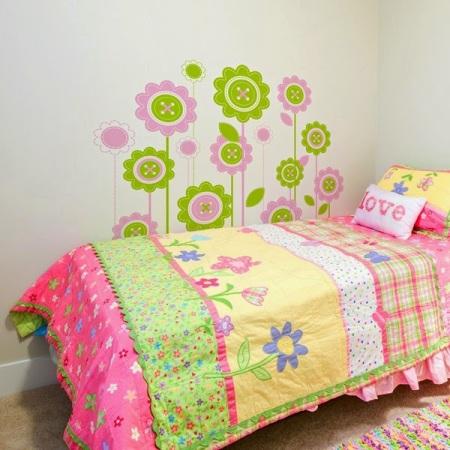 Vinilo Infantil Floral Con Colores