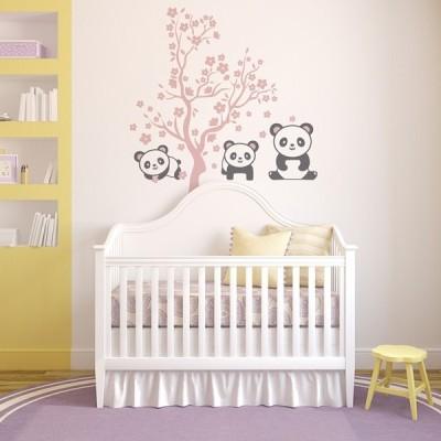 Vinilo Infantil Ositos Panda